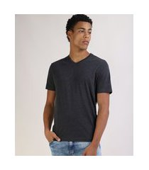 camiseta masculina básica manga curta gola v cinza mescla escuro