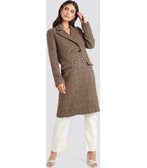 na-kd trend brown pepita coat - brown