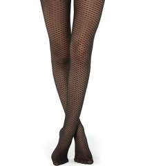 calzedonia fishnet tulle effect tights woman black size 3/4