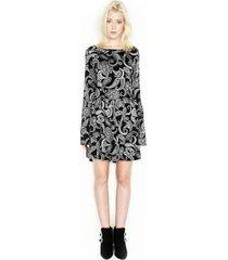 miguel bell l/s mini v-back dress - l black paisley