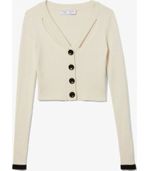 proenza schouler white label fine gauge rib cropped knit cardigan ecru/white l