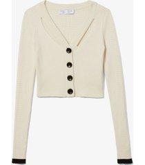 proenza schouler white label fine gauge rib cropped knit cardigan ecru/white m