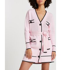 river island womens pink belted longline cardigan