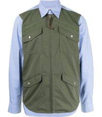 junya watanabe man panelled zip-up shirt - blue