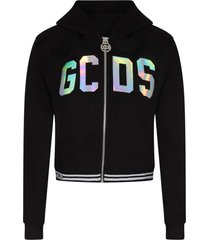 gcds mini black sweatshirt with reflector logo for girl