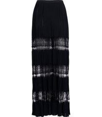 alaia lace panels pleated midi skirt, size 6 us in noir at nordstrom