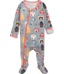 infant girl's bestaroo happy monsters zip footie, size newborn - grey
