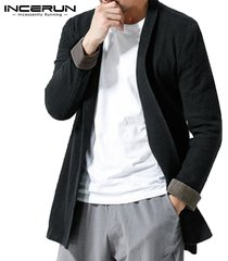 incerun 100% algodón retro kimono japonés top para hombre outwear cool shirt cape camisa