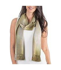 rayon chenille scarf, 'iridescent olive' (guatemala)