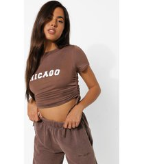 geplooid kort chicago t-shirt, chocolate