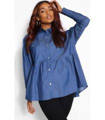 zwangerschaps gesmokte chambray blouse, middenblauw