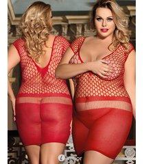 rood gehaakt mesh jurkje