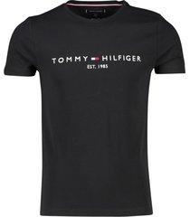 tommy hilfiger t-shirt ronde hals met logo zwart