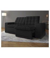 sofá 3 lugares net titan assento retrátil e reclinável preto 2,00m (l)