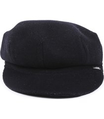 burberry wool newsboy cap black sz: