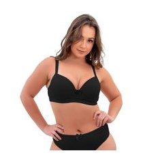 1 sutiã plus size reforçado cor lisa soutien bojão lingerie preto