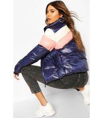 colour block puffer jacket, navy