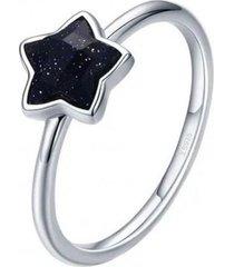anillo estrella negra casual plata arany joyas