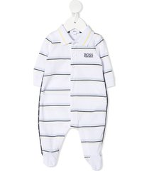boss kidswear logo-embroidered babygrow pajamas - white