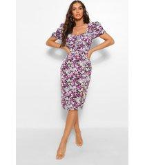 bloemenprint midi jurk met pofmouwen en geplooide buste, paars