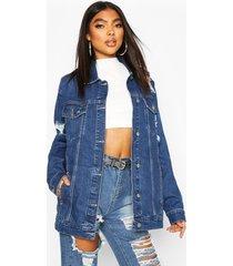 tall oversized distressed jean jacket, dark blue