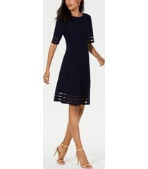 jessica howard illusion-stripe fit & flare dress