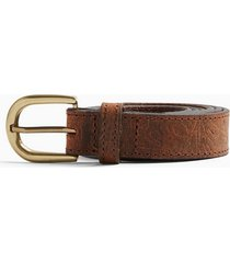 mens brown floral print embossed belt