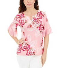 jm collection plus size liza blooms floral print flutter sleeve top, created for macy's
