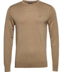 fine gauge merino wool crew neck stickad tröja m. rund krage beige tommy hilfiger tailored
