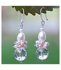 pearl and quartz cluster earrings, 'ballerina' (thailand)