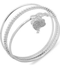anne klein silver-tone 3-pc. set pave heart & key bangle bracelets