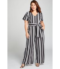 lane bryant women's lena button-front jumpsuit 16p black and white stripe