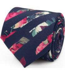 men's painted floral stripe tie