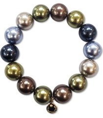 charter club gold-tone colored imitation pearl stretch bracelet, created for macy's