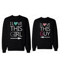 his and her matching couple sweatshirts - i love this guy and i love this girl