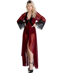 robe lámour longo yasmin lingerie manga comprida sensuale com preto