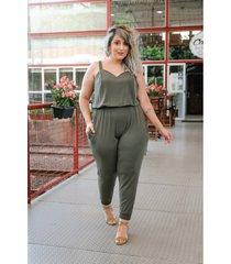 roupas plus size domenica solazzo macacão verde militar - kanui