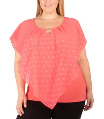 ny collection plus size jacquard poncho top