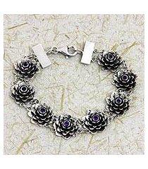 amethyst link bracelet, 'sacred lilac lotus' (indonesia)