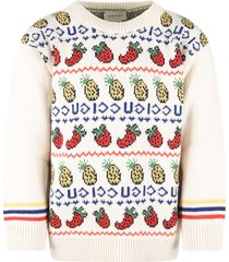 gucci ivory girl sweater with blue logo