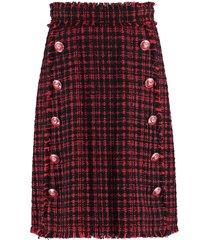 dolce & gabbana embellished button tweed skirt