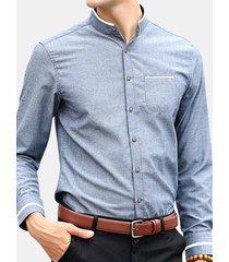 abito da uomo a maniche lunghe in tinta unita con motivo a strisce casual sottile camicia abito da uomo