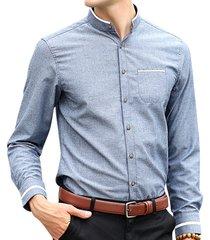casual stripe decoration stand colletto manica lunga tinta unita sottile vestitino fit camicia per uomo
