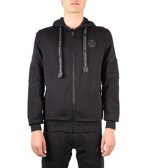 philipp plein full zip cotton sweatshirt with hood