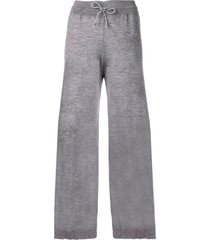 barrie fine-knit wide trousers - grey