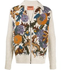 missoni crocheted zip-up cardigan - neutrals