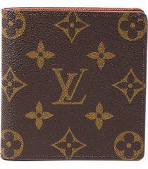 louis vuitton vintage brown monogram coated canvas bifold wallet brown/monogram sz: