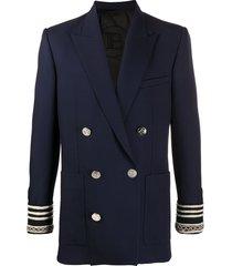 balmain striped cuff blazer - blue