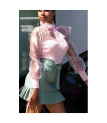 sexy gebreide blouse met strik roze