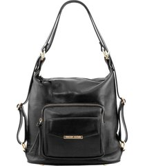 tuscany leather tl141535 tl bag - borsa donna in pelle convertibile a zaino nero